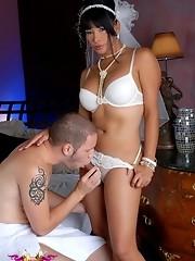 Horny bride Vaniity getting fucked in a wedding dress