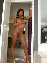 Black hottie Tiffany stripping and posing
