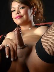 Horny Carmen toys & jerks in stockings