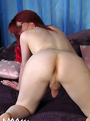 TS Wendy strokes her hard cock