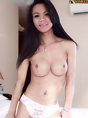 Cute ladyboy with a big dick!