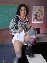 Schoolgirl Gaby toys her butt