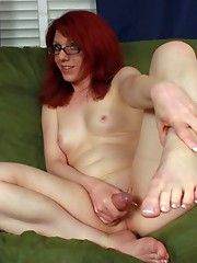 After a long, hard day Wendy takes care of her feet & cock