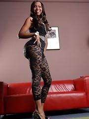 Beautiful ebony transsexual Jade posing in lace and heels