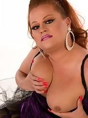 Busty tgirl licking her huge juicy boobies