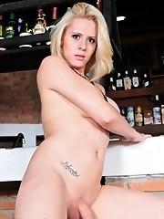 Hot shemale blondie Mel Voquel posing